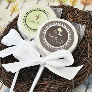 """Fall for Love"" Personalized Lollipop Favors"