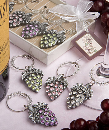 Glistening-Grape-Design Wine Charm Sets (set of 4)