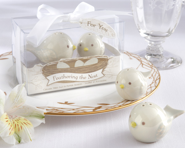 """Feathering the Nest""  Ceramic Birds Salt and Pepper Shakers"