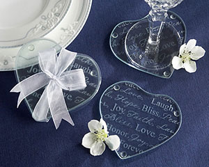 """Good Wishes"" Heart Glass Coasters (set of 2)"