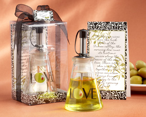 """Olive You"" Glass Love Oil Bottle"