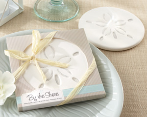 """By the Shore"" Sand Dollar Coaster Wedding Favors"