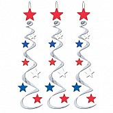 """Silver with Red, White & Blue Stars - Star Whirls 30"""""""