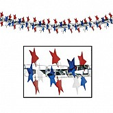 Silver with Red, White & Blue Stars - Star Garland/Column