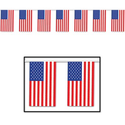 "Outdoor American Flag Banner 17"" x 60'"