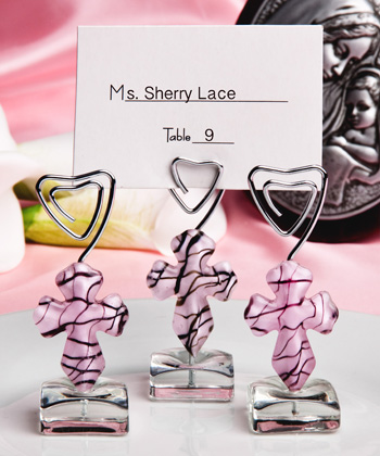Murano Glass Collection Pink Cross Design Place Card Holders
