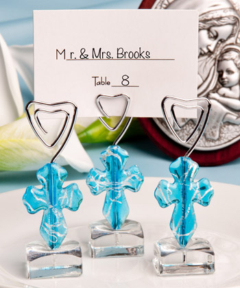 Murano Glass Collection blue cross design place card holders