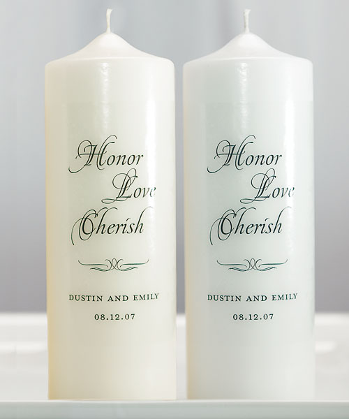 Honor, Love & Cherish Personalized Unity Candle