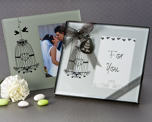 """Love Birds"" Bird Cage Photo Frame Favor"