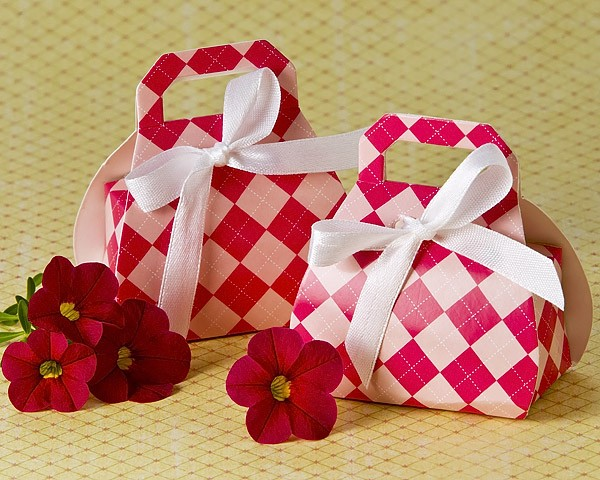 """Perfectly Plaid"" Pink Purse Favor Box (24 Pack)"