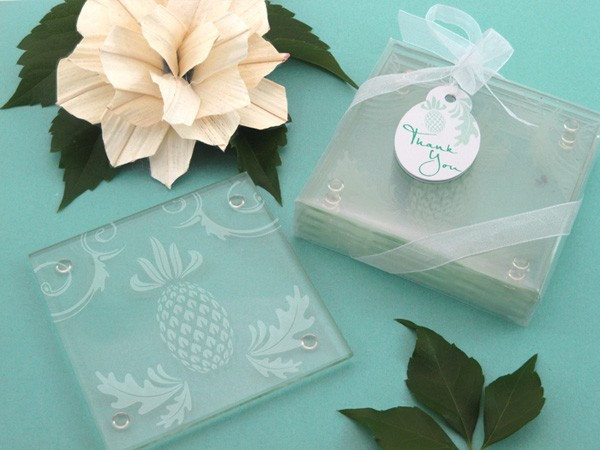 """Warm Welcome"" Tropical Pineapple Glass Coasters (Set of 4)"