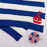 """Sail Away"" Classic Knit Cable Blanket & Rattle"