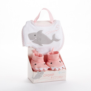 """Chomp & Stomp"" Shark Bib and Booties (Pink)"