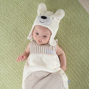 """Beary Snuggly"" Luxe Polar Bear Snuggle Sack and Hat"