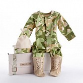 """""""Big Dreamzzz"""" Baby Camo Two-Piece Layette Set in """"Backpack"""" Gift Box"""