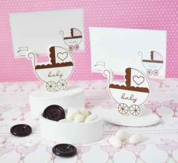 Baby Carriage Place Card Favor Boxes with Designer Place Cards (Set of 12)