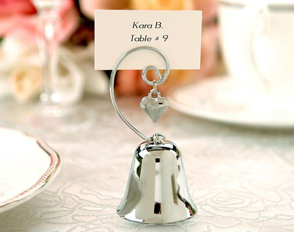 Charming Chrome Bell Place Card/Photo Holder with Dangling Heart Charm (Set of 4)