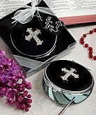 Classy Compacts Collection Cross Design Metal Compact Favors