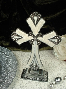Large metal artisan cross with base white silver