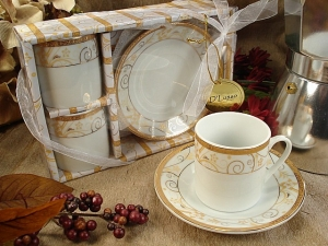 2 Cup 2 saucer gold Espresso Set wedding favors