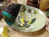 Murano Oval dish butterfly design