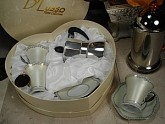 4 pc Espresso Set w/espresso Pot Silver Design favors