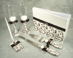 4 Piece Bridal Accessory Set. Guest book, Toasting flutes, Cake set and Pen set Damask design
