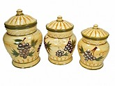 3 Piece Ceramic Canister Set Grape Design