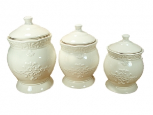 3 Piece Ceramic Canister Set Ivory Design