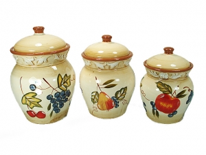 3 Piece Ceramic Canister Set with Fruit Design