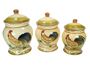3 Piece Ceramic Canister Set Rooster Design