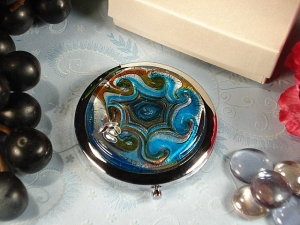 Murano design compact mirror blue gold