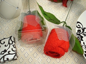 Stem rose towel Red