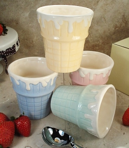 Set Of 4 Cone Ceramic Ice Cream Cups Assorted Colors