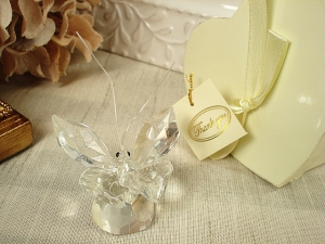 Mini Crystal Butterfly In Satin Lined Heart Box