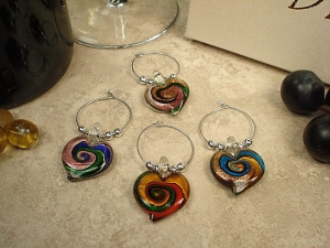 4pc Wine Murano style glass Charm set Hearts