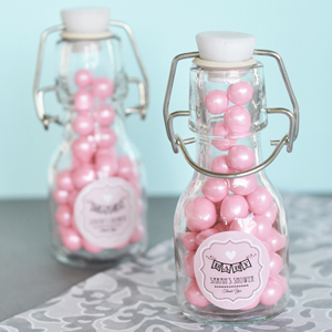 Vintage Baby Personalized Mini Glass Bottles