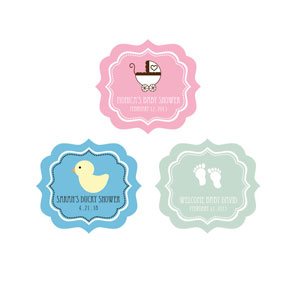 DIY Baby Shower Frame Personalized Labels