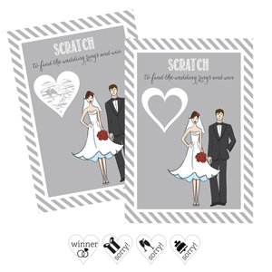 Bride Groom Scratch Off Game Cards (Set of 12)