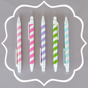 Striped Pens (Set of 10)