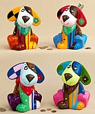 Multicolored Ceramic Doggy Banks Baby Favors