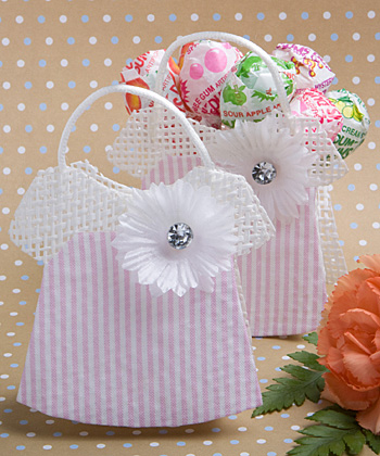 Pink/White Mesh Baby Girl Jumper Favor Bag