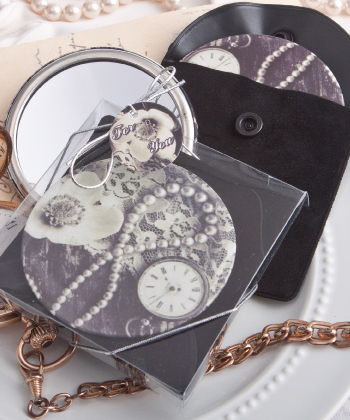 Vintage design pocket mirror favor