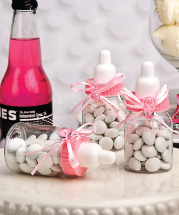Perfectly Plain Collection Pink Baby Bottle Favors