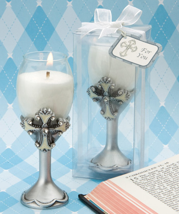 Cross Design Champagne Flute Candle Holders