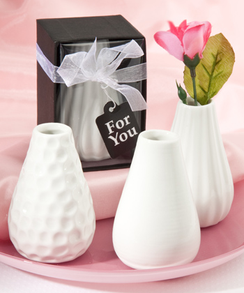Three Assorted Bud Vases Favors