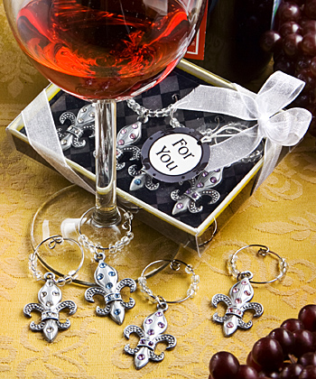 Fleur de Lis Design Wine Charm Sets (set of 4)