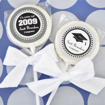 """Hats off to You"" Personalized Graduation Lollipop Favors"
