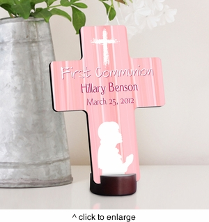 Hear My Prayer First Communion Cross - Pink