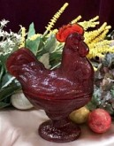 "9"" Red Rooster Glass Candy Dish"